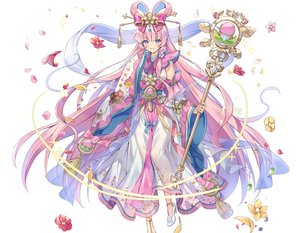 Rating: Safe Score: 46 Tags: bow cropped flowers headdress japanese_clothes kurokishi_to_shiro_no_maou long_hair pink_eyes pink_hair staff white yeonwa User: otaku_emmy