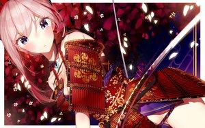 Rating: Safe Score: 149 Tags: armor atha bra breasts fate/grand_order fate_(series) long_hair miyamoto_musashi_(fate/grand_order) panties petals pink_hair purple_eyes samurai sword underwear weapon User: RyuZU