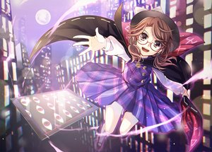 Rating: Safe Score: 70 Tags: brown_eyes brown_hair building cape city dress glasses hat long_hair moon night touhou usami_sumireko User: humanpinka