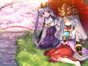 Rating: Safe Score: 37 Tags: amaterasu_(p&d) aqua_hair blush cherry_blossoms emia_(castilla) grass headdress japanese_clothes long_hair petals pink_eyes purple_hair puzzle_&_dragons sleeping tree twintails umbrella water yomi_(p&d) User: RyuZU