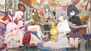 Rating: Safe Score: 75 Tags: animal_ears aqua_eyes bicolored_eyes black_hair breasts bronya_zaychik bunny_ears christmas cleavage food fu_hua glasses gray_eyes gray_hair hat honkai_impact horns kiana_kaslana knife logo long_hair pantyhose pink_hair purple_eyes santa_costume santa_hat seele_vollerei tagme_(artist) white_hair yae_sakura_(benghuai_xueyuan) User: Nepcoheart