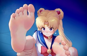 Rating: Safe Score: 51 Tags: barefoot blonde_hair blue_eyes choker close headband ice_(dzs1392584271) long_hair sailor_moon sailor_moon_(character) school_uniform tsukino_usagi twintails User: FormX