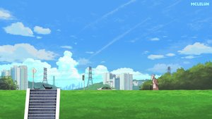 Rating: Safe Score: 6 Tags: animal building cat city clouds grass gray_hair mclelun original ponytail scenic short_hair sky stairs watermark User: RyuZU