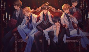 Rating: Safe Score: 27 Tags: all_male couch crown drink flowers group male rose suit tagme tagme_(artist) tie User: luckyluna