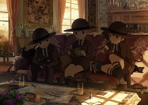 Rating: Safe Score: 15 Tags: all_male animal book cat couch dark drink flowers gloves hat kneehighs male noeyebrow_(mauve) original paper shade shorts signed suit teddy_bear tie User: RyuZU