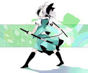 Rating: Safe Score: 52 Tags: atoshi bow katana konpaku_youmu skirt sword touhou weapon white_hair User: HawthorneKitty