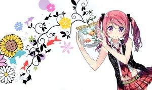 Rating: Safe Score: 231 Tags: 5_nenme_no_houkago animal blush bow fish kantoku kurumi_(kantoku) navel original pink_hair purple_hair skirt tie twintails white User: Wiresetc