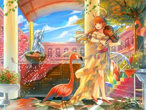 Rating: Safe Score: 105 Tags: animal bird building clouds dress feathers flowers food fruit halo hayama_eishi instrument long_hair original petals red_eyes red_hair sky tree violin User: gnarf1975