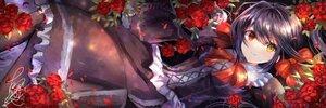 Rating: Safe Score: 30 Tags: bicolored_eyes date_a_live dress flowers fujimori_shiki goth-loli lolita_fashion long_hair rose signed tokisaki_kurumi twintails User: BattlequeenYume