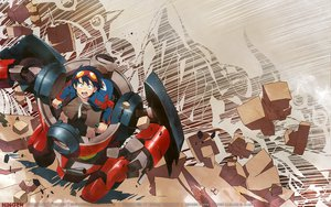 Rating: Safe Score: 32 Tags: all_male black_hair bow gainax goggles male mecha robot short_hair simon tagme_(artist) tail tengen_toppa_gurren_lagann watermark User: Oyashiro-sama