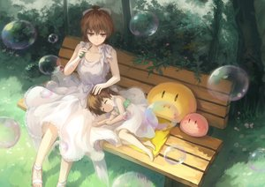 Rating: Safe Score: 140 Tags: 2girls brown_hair bubbles bzerox clannad dango_(clannad) dress furukawa_nagisa grass loli okazaki_ushio short_hair sleeping summer_dress tree User: Flandre93