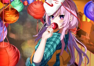 Rating: Safe Score: 49 Tags: apple blush candy close flat_chest food fruit garaudon hata_no_kokoro japanese_clothes long_hair mask pink_eyes pink_hair touhou yukata User: otaku_emmy