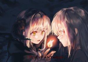 Rating: Safe Score: 50 Tags: 2girls blonde_hair cape close fire horns logo magic obiwan original pixiv_fantasia yellow_eyes User: RyuZU