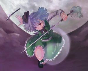 Rating: Safe Score: 47 Tags: gray_hair katana konpaku_youmu moon myon red_eyes short_hair skirt sword touhou weapon User: Tensa