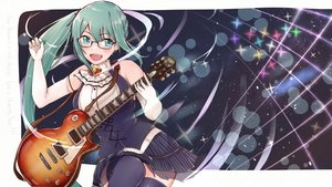 Rating: Safe Score: 24 Tags: blush elbow_gloves glasses gloves green_eyes green_hair guitar instrument kagura_suzu .live long_hair ponytail tagme_(artist) thighhighs User: RyuZU