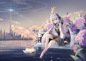 Rating: Safe Score: 57 Tags: animal barefoot bird blue_archive building city clouds dress flowers gray_eyes gray_hair gun halo long_hair prothymos shirasu_azusa sky water weapon wings User: BattlequeenYume