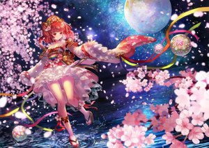 Rating: Safe Score: 91 Tags: armor ball braids breasts cherry_blossoms cleavage dress flowers headdress kneehighs original petals planet red_eyes red_hair ribbons terai twintails water User: Flandre93