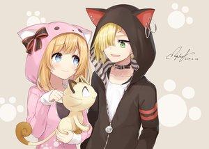 Rating: Safe Score: 34 Tags: animal animal_ears aqua_eyes blonde_hair cat collar gladio_(pokemon_sm) green_eyes hoodie male meowth mizuki_(pokemon_sm) pokemon rupinesu short_hair signed User: RyuZU