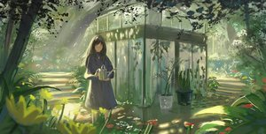 Rating: Safe Score: 66 Tags: black_hair dress flowers landscape long_hair necklace orange_eyes original scenic tagme_(artist) tree User: BattlequeenYume
