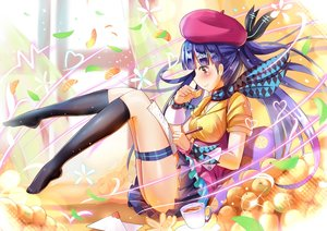 Rating: Safe Score: 90 Tags: blue_hair blush drink fruit garter hat kneehighs long_hair orange_(fruit) paper qian_wu_atai scarf vocaloid wristwear xin_hua User: Flandre93