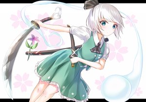 Rating: Safe Score: 16 Tags: aqua_eyes headband katana konpaku_youmu myon short_hair skirt sword tagme_(artist) touhou weapon white_hair User: luckyluna