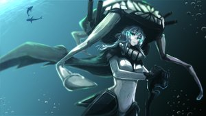 Rating: Safe Score: 75 Tags: animal bodysuit bubbles cape casino_(artist) fish gloves gray_hair headdress kantai_collection skintight staff underwater water wo-class_aircraft_carrier User: Flandre93