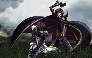 Rating: Safe Score: 65 Tags: all_male cape clouds code_geass gun jpeg_artifacts kururugi_suzaku lelouch_lamperouge male weapon User: Chiyu