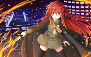 Rating: Safe Score: 120 Tags: building cape city fire kazenokaze long_hair necklace night red_eyes red_hair seifuku shakugan_no_shana shana sword thighhighs weapon zettai_ryouiki User: gnarf1975