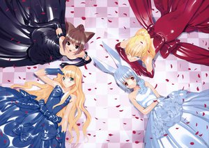 Rating: Safe Score: 48 Tags: alice_in_wonderland alice_(wonderland) animal_ears bunny_ears bunnygirl chesire_cat dress march_hare queen_of_hearts ueda_ryou User: HawthorneKitty