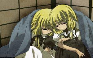 Rating: Safe Score: 9 Tags: blonde_hair kobato mihara_chiho mihara_chise sleeping watermark User: pantu