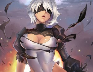 Rating: Safe Score: 115 Tags: blindfold breasts cleavage cropped dantewontdie gloves leotard nier nier:_automata short_hair torn_clothes white_hair yorha_unit_no._2_type_b User: SciFi