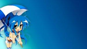 Rating: Safe Score: 78 Tags: blue blue_hair gradient izumi_konata long_hair lucky_star panties shorts umbrella underwear User: Heledir