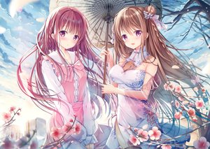 Rating: Safe Score: 106 Tags: 2girls breasts brown_hair chinese_clothes chinese_dress cleavage clouds cropped flowers long_hair original purple_eyes scan sousouman umbrella User: Nepcoheart