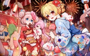 Rating: Safe Score: 61 Tags: animal blonde_hair blue_eyes blush fan festival fireworks fish food japanese_clothes kiyomasa_ren long_hair pink_eyes pink_hair ragnarok_online red_eyes short_hair sky summer twintails yukata User: BattlequeenYume