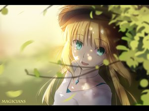 Rating: Safe Score: 144 Tags: aqua_eyes artoria_pendragon_(all) blonde_hair fate_(series) fate/stay_night hat leaves long_hair magicians necklace saber watermark User: Flandre93