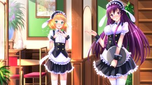Rating: Safe Score: 163 Tags: animal_ears blonde_hair blush bunny_ears gochuumon_wa_usagi_desu_ka? green_eyes headdress kirima_sharo long_hair maid purple_eyes purple_hair short_hair swordsouls tedeza_rize waitress zettai_ryouiki User: FormX