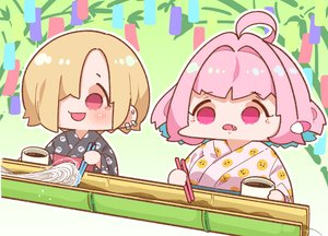 Rating: Safe Score: 17 Tags: 2girls blonde_hair blush fang food idolmaster idolmaster_cinderella_girls japanese_clothes pink_eyes pink_hair shirasaka_koume short_hair summer takatoo_kurosuke waifu2x water yukata yumemi_riamu User: otaku_emmy