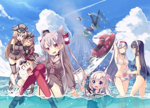 Rating: Safe Score: 240 Tags: admiral_(kancolle) amatsukaze_(kancolle) anthropomorphism ball bikini bismarck_(kancolle) breasts cleavage clouds group hat i-168_(kancolle) i-19_(kancolle) i-58_(kancolle) i-8_(kancolle) kantai_collection long_hair ooyodo_(kancolle) prinz_eugen_(kancolle) ro-500_(kancolle) school_uniform shoukaku_(kancolle) swimsuit tahya thighhighs twintails water yuubari_(kancolle) User: Flandre93