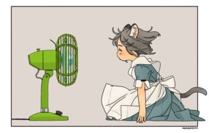 Rating: Safe Score: 31 Tags: akai_sashimi animal_ears apron catgirl fan gray_hair loli maid original short_hair signed tail User: otaku_emmy
