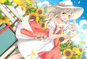 Rating: Safe Score: 57 Tags: clouds dress flowers hat juna long_hair original paper petals sky summer sunflower white_hair yellow_eyes User: luckyluna
