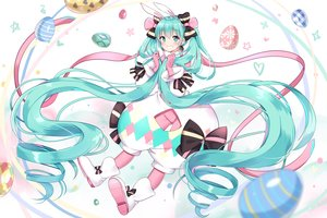 Rating: Safe Score: 65 Tags: aqua_eyes aqua_hair boots bow hatsune_miku long_hair mamemena twintails vocaloid User: RyuZU