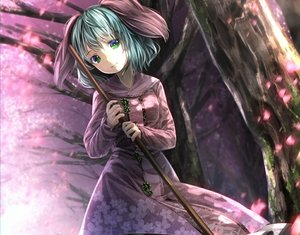 Rating: Safe Score: 76 Tags: aqua_hair cherry_blossoms cropped dress green_eyes kasodani_kyouko ryosios touhou tree User: luckyluna