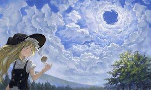 Rating: Safe Score: 42 Tags: blonde_hair clouds fjsmu hat kirisame_marisa long_hair scenic sky touhou tree witch witch_hat yellow_eyes User: BattlequeenYume