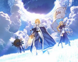 Rating: Safe Score: 88 Tags: armor blonde_hair boots braids cape clouds elbow_gloves fate/apocrypha fate/grand_order fate/stay_night grass gray_eyes green_eyes jeanne_d'arc jeanne_d'arc_(fate/apocrypha) long_hair pink_hair purple_eyes saber short_hair sky spear sword takeuchi_takashi thighhighs type-moon weapon User: Wiresetc