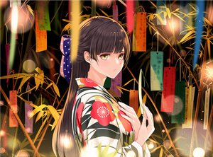Rating: Safe Score: 53 Tags: bow brown_hair giba_(out-low) japanese_clothes long_hair original yellow_eyes User: RyuZU