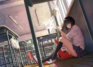 Rating: Safe Score: 87 Tags: black_hair guitar instrument kneehighs k_ryo original red_eyes school_uniform short_hair User: Kiho