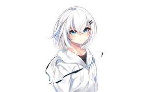 Rating: Safe Score: 92 Tags: aqua_eyes hoodie original otokuyou ringo-chan_(otokuyou) short_hair white white_hair User: RyuZU