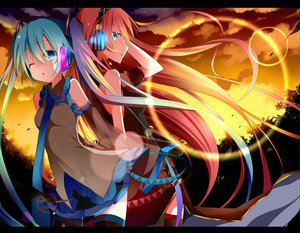 Rating: Safe Score: 109 Tags: hatsune_miku headphones megurine_luka sunset temari_(deae) vocaloid User: MissBMoon