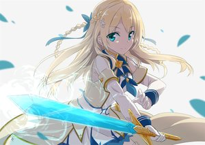 Rating: Safe Score: 83 Tags: aqua_eyes blonde_hair braids dress gloves gochou_(comedia80) long_hair magic original petals ribbons sword weapon User: RyuZU