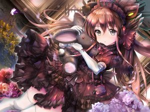 Rating: Safe Score: 76 Tags: brown_hair bunny butterfly dress elbow_gloves flowers gc3 gloves goth-loli gray_eyes hat headdress loli lolita_fashion long_hair microphone original teddy_bear thighhighs User: Nepcoheart